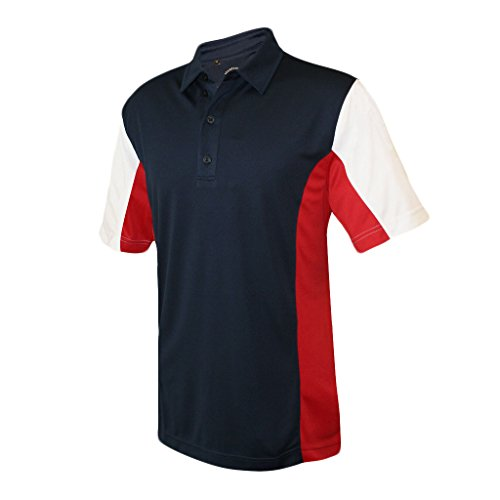 Monterey Club Men's Dry Swing Rival Contrast Point Collar Shirt #1197 (Navy/Red, X-Large)
