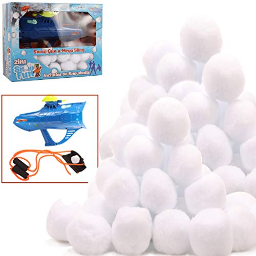 High Bounce Set of 50 Indoor Snowballs and Accessories Including Snowball Gun and Slingshot Great for Indoor and Outdoor Snowball Fights Fun