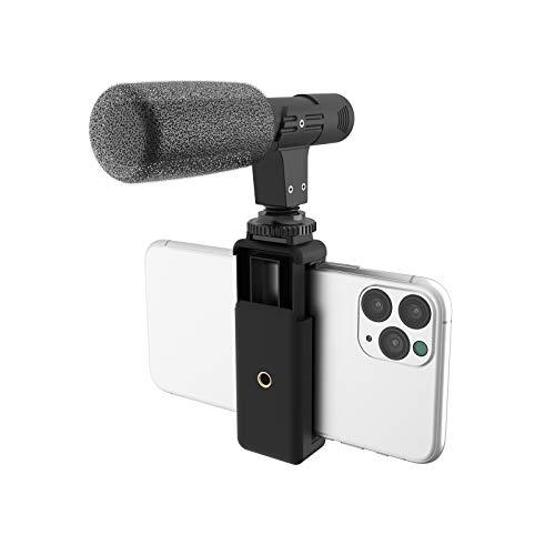 DigiPower Microfono universale Shotgun con supporto per cellulare, microfono direzionale, compatibile con smartphone, fotocamere DSLR e action cam, DP-M25