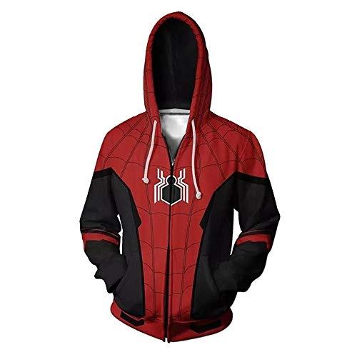 Superhero Marvel Spiderman Sweat Pull Hoodie Sweat à Shirts à avec Capuche Enfants Homme Cosplay Vetement de Décontractés Garçons Femme Veste Manteau à Costume Deguisement Tenue S