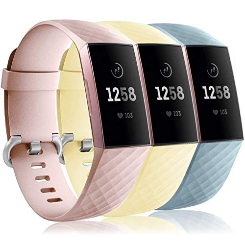 Wepro Waterproof Bands Compatible with Fitbit Charge 4 / Charge 3 / Charge 3 SE for Women Men, 3-Pack Replacement Wristbands for Fitbit Charge 3 / Charge 4, Small, Pink Sand, Cream Yellow, Aqua