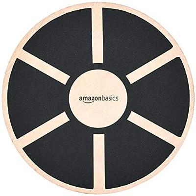 Amazon Basics Wood Wobble Balance Board - 16.2 x 16.2 x 3.6 Inches, Black