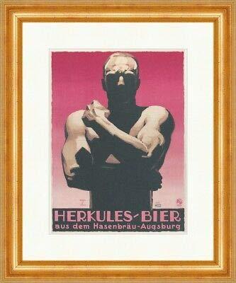 Herkules Bier aus dem Hasenbräu Augsburg Werbung Kunst Plakatwelt 423 Gerahmt