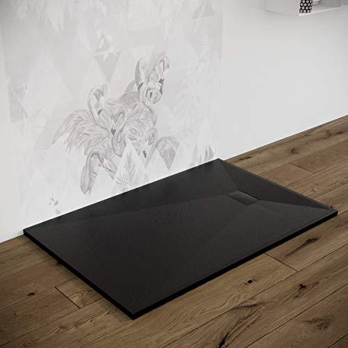 Piatto doccia effetto pietra ardesia stone smc (no marmoresina) BEIGE BIANCO NERO 70 80 90 100 120 140 160 180 cm piletta inclusa. Euclide (80x100 cm, Nero)