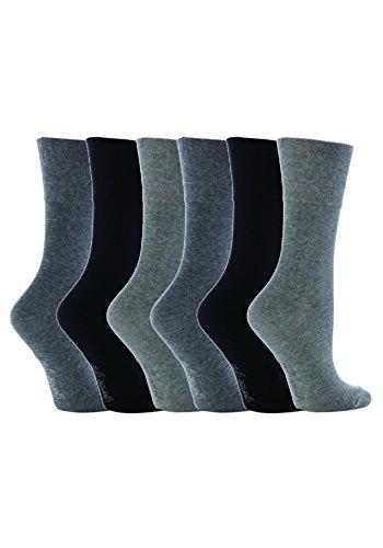 Gentle Grip - 6 Paar Damen Ges&heitssocken Ohne Gummi Diabetiker Druckfreie Handgekettelt Baumwollanteil Socken 37-42 EUR (GG12)