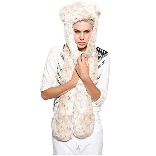 Iunser Damenmode Multifunktionsschal Oberbekleidung Handschuhe Kunstpelz Tierohrhut(White)