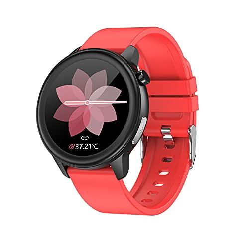 QFSLR Rastreador De Ejercicios Monitor De Frecuencia Cardíaca Y Presión Arterial Medición De La Temperatura Corporal IP68 Smart Watch Deportivo A Prueba De Agua,Rojo