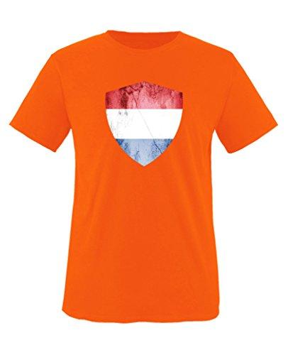 Comedy Shirts - Niederlande Trikot - Wappen: Groß - Wunsch - Kinder T-Shirt - Orange/Royalblau Gr. 110-116