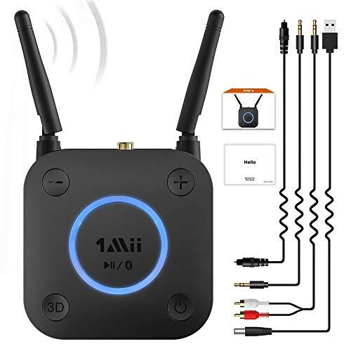 1Mii Ricevitore Bluetooth 5.0, Adattatore Ricevitore Audio Bluetooth con Controllo Volume, AptX Bassa Latenza, Uscita Ottico, Coassiale, AUX, RCA, per Amplificatore, Impianto Stereo, Lungo Raggio 60m
