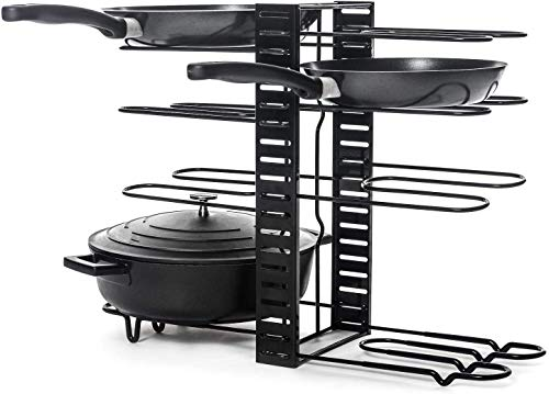 Pot Rack with 1PC Cleaning Cloth Kitchen Adjustable Pan Organizer Rack, 8-Tiers Pan and Pot Lid Organizer Rack Holder, Best for Kitchen and Cabinet Storage of Pots Pans Lids