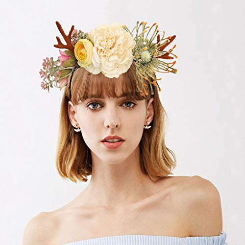 Woeoe Christmas Floral Garland Headbands Reindeer Antlers Hair Bands Festival Costume Headwear Accessories for Women Teen Girls Kids