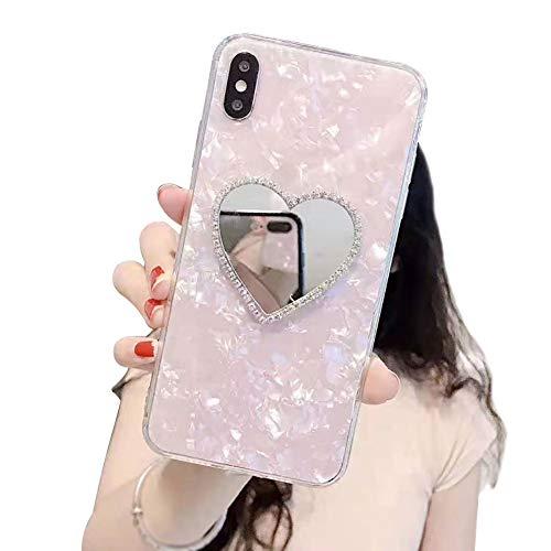 DasKAn Diamant Liebe Herz Spiegel Hülle für Huawei P30 Lite, Handmade Glänzend 3D Edelsteine Rückseite Handy Tasche Kratzfest Stoßfest Durchscheinend Silicone Gel TPU Schutzhülle, Rosa #2