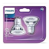 Philips - Bombilla LED Foco Gu10 Cristal, 4.6 W Equivalente a 50 W, Luz Blanca Fría, No Regulable, Pack de 6 unidades