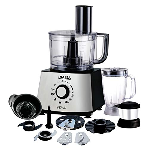 Inalsa Mixer Grinder/Food Processor Pure Copper Motor with 2 Multipurpose Jars & 11 Accessories