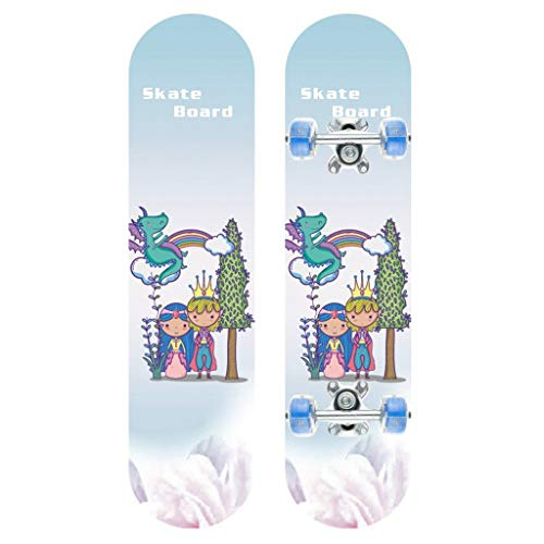 Nuokix Skateboards Scooters Longboard Boys and Girls Universal Double-Sided Pattern Beginner Pink Brush Street Dance Board Highway Flash Luminous Wheel 110cm Skateboard Color : Pink, Size : 110 2