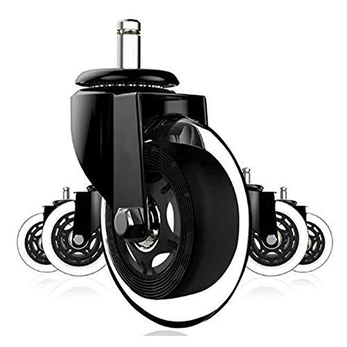 Bureaustoel wielen, 3-inch No Noise spare PU bureaustoel wielen, Cool Rollerblade Style Stem rollen voor hardhout tapijttegel verdiepingen (5 stuks),Black