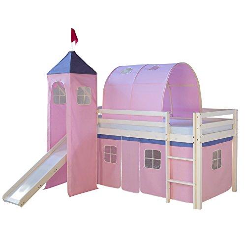 Homestyle4u 1496, Kinder Hochbett Mit Rutsche, Leiter, Turm,Tunnel, Vorhang Rosa, Massivholz Weiß, 90x200 cm