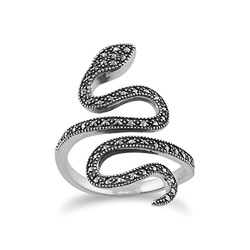 Gemondo Markasit Ring 925 Sterlingsilber 0,46 CT Markasit Jugendstil Schlange Ring