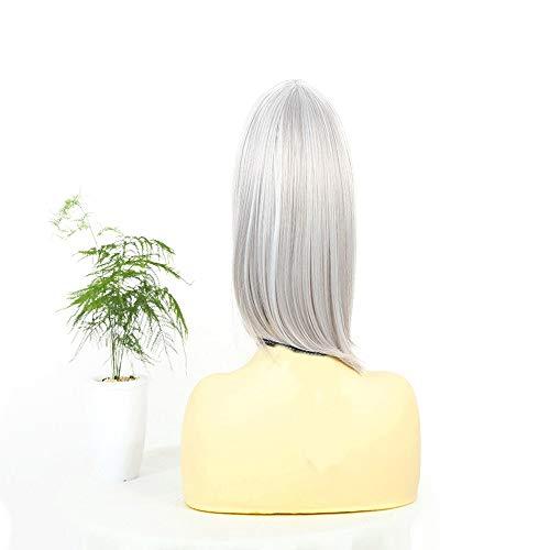RUNWEI Perruques De Cheveux Raides, Perruque Synthétique De Cheveux Élégants Et De Cheveux Courts  Silver White Fashion Lady Courte Courte  Chapeau De