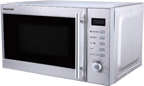 Sharp R60STW 2-in1 Mikrowelle mit Grill / 20 L / 800 W / 1000 W Grill / LED-Display / 8 Automatikprogramme / Gewichtgesteuertes Auftauen / Timer / hoher Rost / Energiesparmodus / Edelstahl