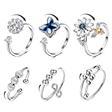 SAILIMUE 6 Pcs Fidget Anxiety Rings for Women Adjustable Open Ring Set Spinner Fidget Rings for Anxiety Cubic Zirconia Flower Butterfly Bead Stress Relief Stackable Rings