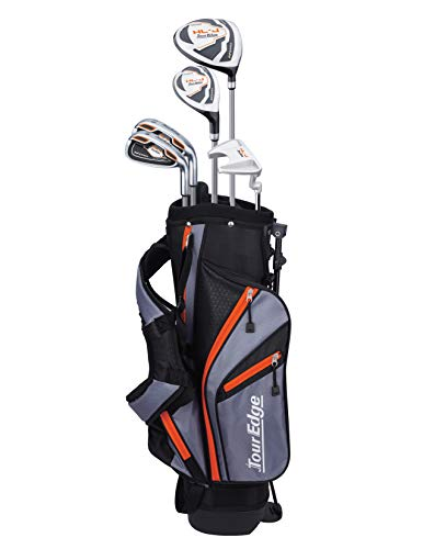 Tour Edge HL-J Junior Complete Golf Set with Bag (Left Hand, Graphite, 1 Putter, 2 Irons, 1 Hybrid, 1 Wood, 5-8 YRS) Orange
