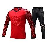 LXC Football Anti-Collision Ensemble Gardien But Rembourré Hauts + Pantalons 2 Pièces Protecteur Tenue (Color : Red, Size : S)