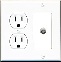 RiteAV (2 Gang Decorative) 15 Amp Round Power Outlet Coax Cable TV Wall Plate - White