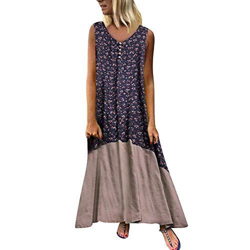 YEBIRAL Übergröße Damen Leinen Kleider Sommerkleid Vintage V Ausschnitt Blumendruck Lose Tunika Maxikleid Strand Langes Kleid Freizeitkleid Große Größe(XXXXL,Blau)