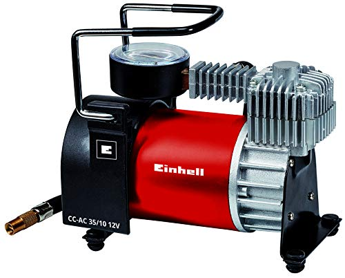 Einhell Auto compressore d\'Aria CC 12 V AC 35/10 (0 – 10 Bar di Pressione manometro, capacità 35 Litri al Minuto, Collegamento Tramite Presa accendisigari, Incluso 4 Adattatore supplementari).