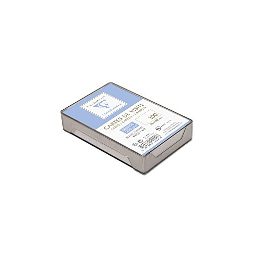 Clairefontaine 1444C - Une boite plastique de 100 cartes de visite 8,2x12,8 cm en bristol blanc uni 220 g