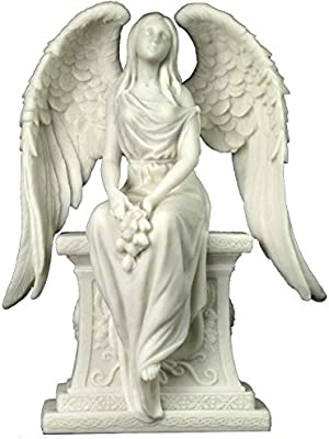 10.63 Inch Angel with Roses Sitting on The Tombstone - Marble White