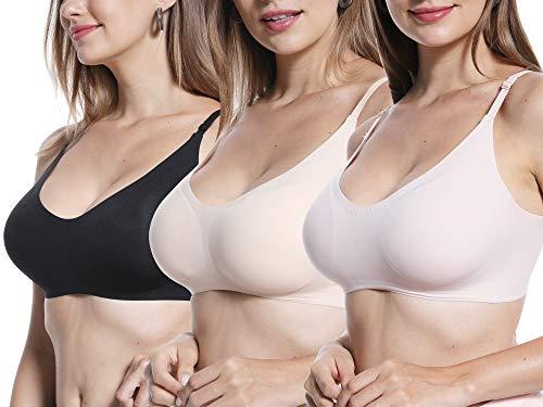 HOFISH Women's Ultra-Soft Everyday Bras Adjustable Wire-Free Bra Sleep Bra Plus Size BlackBeigePink, M