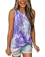 Tie-Dye Tank Top for Women Fashion Front Hem Cross Twisted Sleeveless Shirt Summer Casual Vest T-Shirt Purple