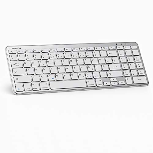 OMOTON Bluetooth Tastatur für iPad 10.2 2019,iPad Pro 11,iPad 2018/2017,iPad 5/4/3/2,iPad Air 3/2/1,iPad Pro 10.5,iPad Pro 12.9,iPad Mini 5/4/3,QWERTZ Layout. Silber