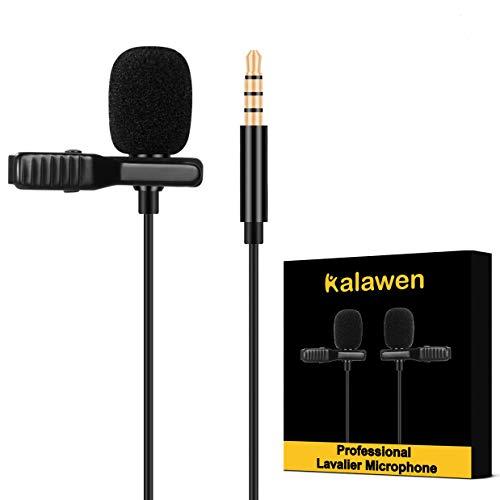 Kalawen Microfono Lavalier Mini Microfono Professionale con Clip e Cavo di Prolunga Microfono con 3,5mm per Cellulari Android