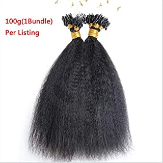Hesperis Micro Loop Hair Extensions Brazilian Remy Virgin Hair Kinky Straight 100g Per Pack Human Hair Coarse Straight Micro Rings Hair Extensions 1g/strand (14inch)
