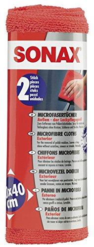 SONAX MicrofaserTücher Außen - der Lackpflegeprofi (2 Stück) hochwertig und flauschig, zum Entfernen von Polierrückständen | Art-Nr. 04162410