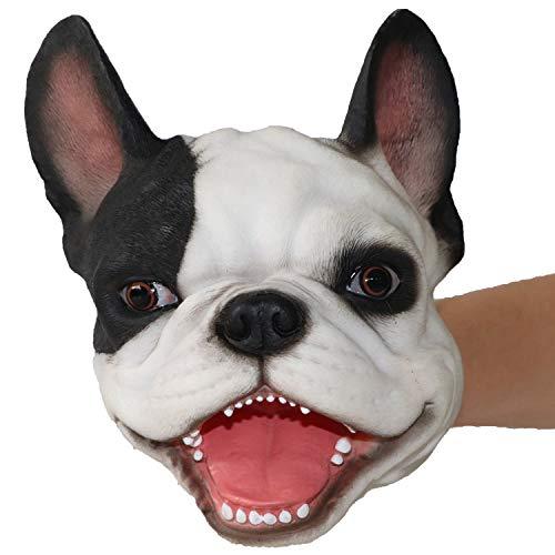 iFkoo Novelty French Bulldog Hand Puppet ,Soft Realistic Latex Fierce Dog Head Plush Puppet Toy for Kids Adults (White French Bulldog)