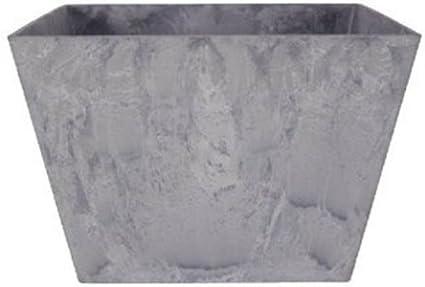 Artstone Maceta para flores jardinera Ella, Resistente a las heladas y ligera, Gris, 25x25x12 cm
