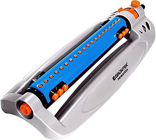 GRÜNTEK Oscillating Sprinkler up to 462m²/4973ft² with Turbo Motor. Rectangular Lawn bar Sprinkler for larges Surfaces.
