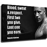 Dwayne Johnson Laminierte Schwarz-Weiß-Motivation