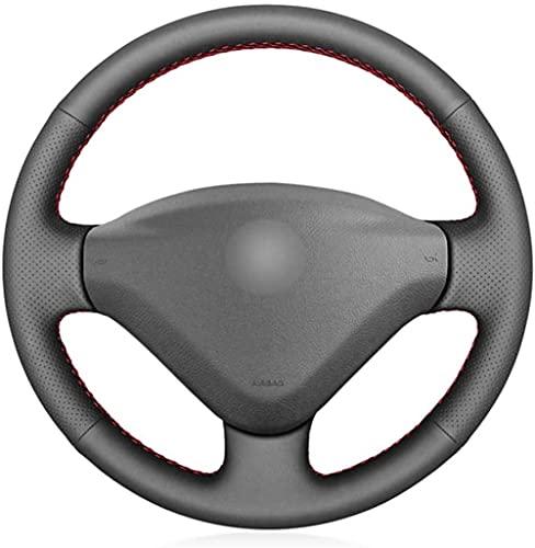 CDXDDP Cubierta de Volante de Coche DIY de Cuero Negro de PU para Peugeot 207 2006-2014 Expert 2008-2016 Partner 2009-2018 Fiat Scudo 2010-2016-Blue_and_Red_Thread