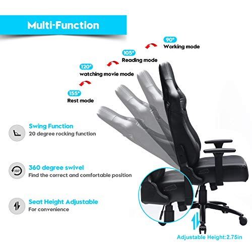 Blue Whale Big and Tall Gaming Chair with Massage Lumbar Support,Metal Base and 3D Aluminum Alloy Armrest Racing PC Computer Video Game Chair High Back PU Leather Office Desk Chair with Headrest