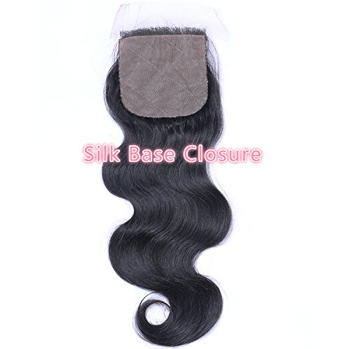 Beata Hair Free Part Silk Closure Body Wave 4x4inch Silk Base Top Closure 130% Density 8A Virgin Brazilian Hair Natural Color (16inch)