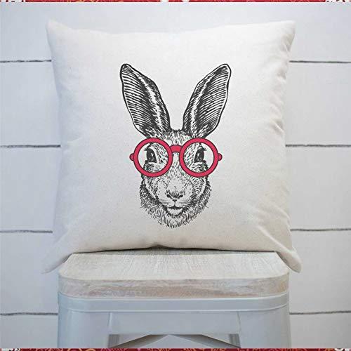 43LenaJon Funda de cojín cuadrada con diseño de conejito con gafas de Pascua, funda de cojín para el hogar, coche, sofá, dormitorio, decoración de 50 x 50 cm, regalo de inauguración de la casa