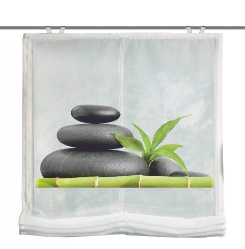 Home Fashion 69898-768 Raffrollo Digitaldruck Carozo Voile mit Fensterhaken und Zubehör, 140 x 100 cm, grün