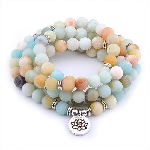YANGYANG 108 Pulseras de Piedra Natural para Mujeres y Hombres, Pulsera de Yoga de meditación, Lotus Om Buddha, brazaletes Uni con Encanto -Amazonita