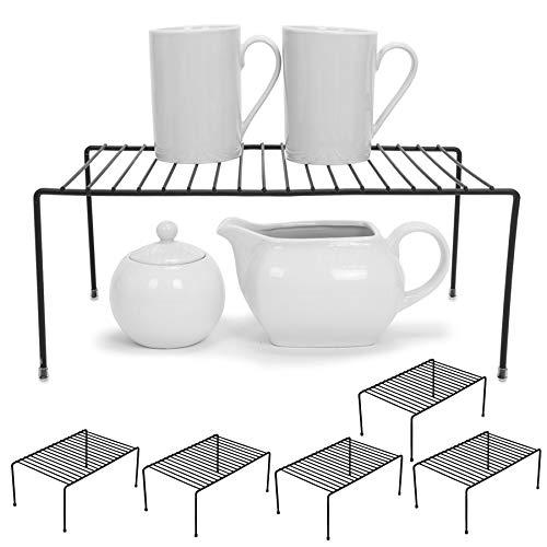 Smart Design Cabinet Storage Shelf Rack - Medium (8.5 x 13.25 Inch) - Non-Slip Feet - Steel Metal Frame - Rust Resistant Coating - Cup, Dish, Counter & Pantry Organization - Kitchen [Black] - Set of 6