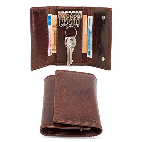 neropantera - Leichter Schlüsselanhänger mit schlankem Design aus glänzendem Echtleder, mit Banknotenhalter - Recanati